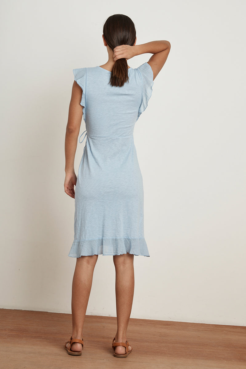 FEY COTTON SLUB MIX RUFFLE WRAP DRESS