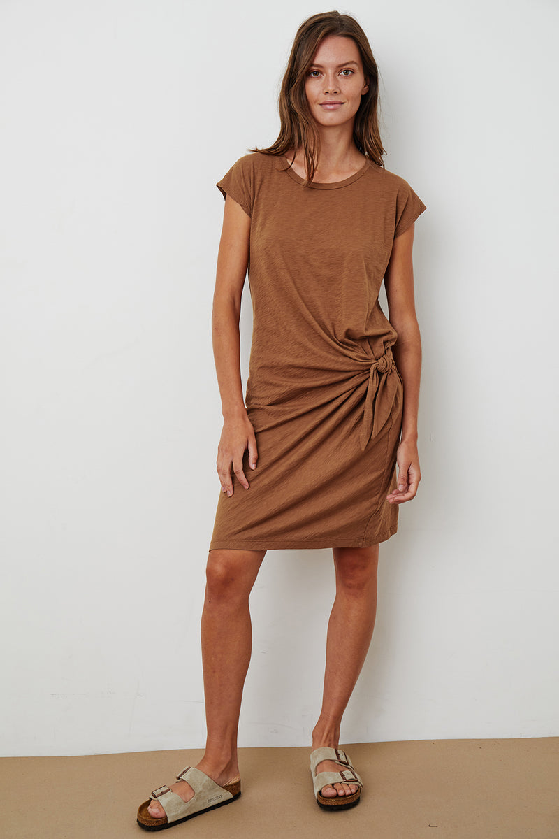 GUSSIE COTTON SLUB TIE DRESS