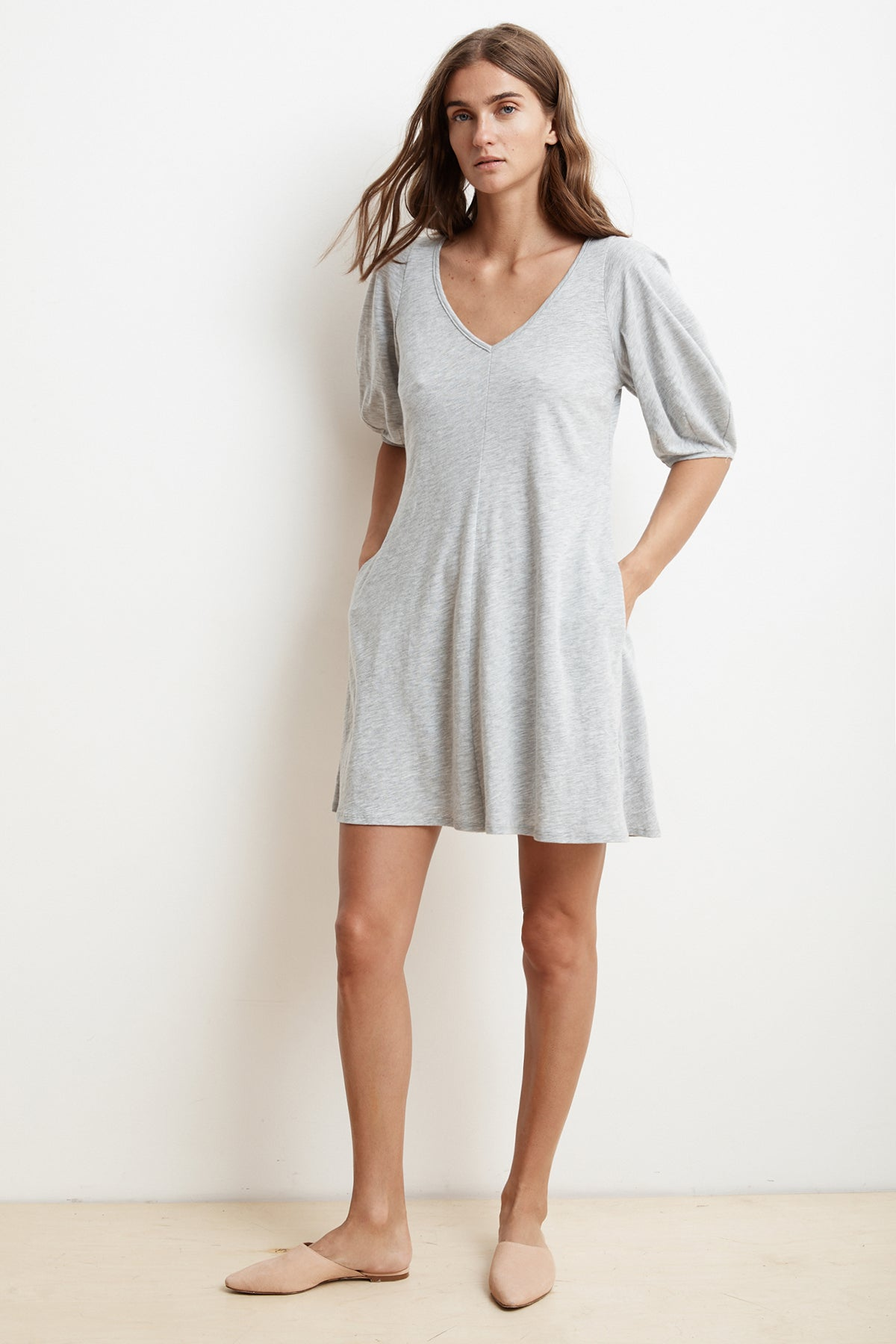 ILEANA HEATHER GREY COTTON SLUB PUFF SLEEVE DRESS