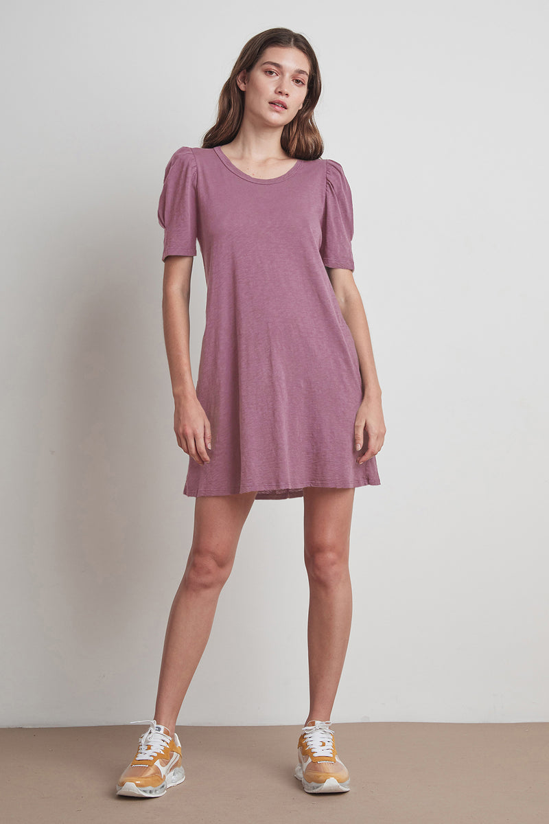 IRA COTTON SLUB PUFF SLEEVE DRESS