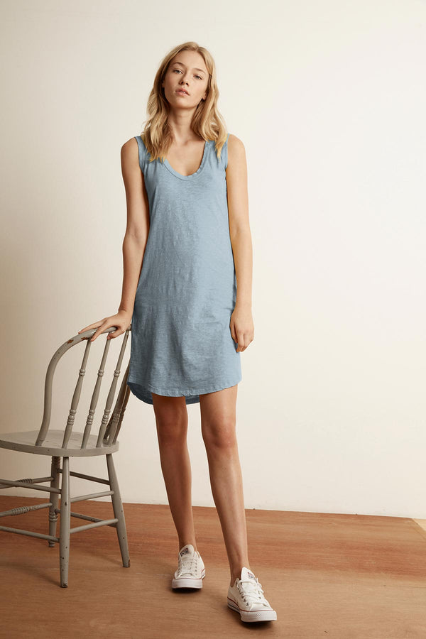 JANNA COTTON SLUB MIX SCOOP NECK TANK DRESS