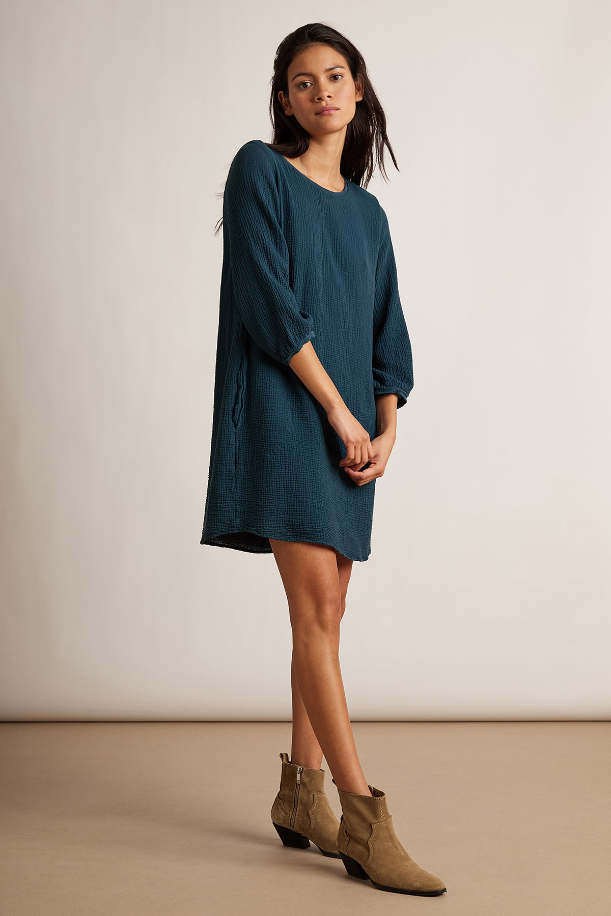 KINSLEE COTTON GAUZE 3/4 SLEEVE DRESS
