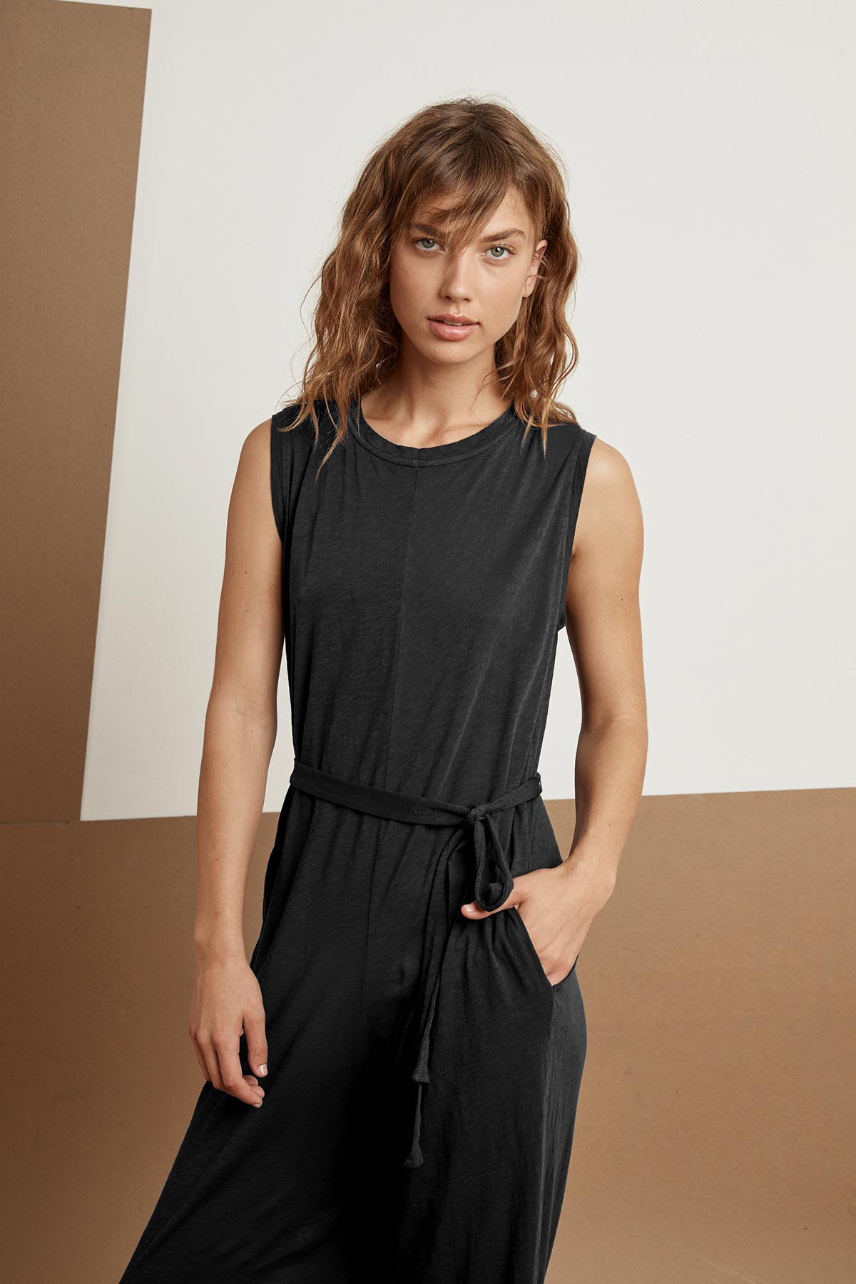KITT COTTON SLUB MIX SLEEVELESS JUMPSUIT