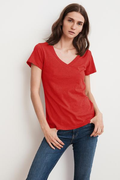 LILITH COTTON SLUB V-NECK TEE
