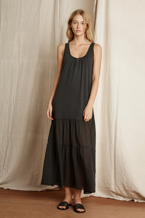 LISE COTTON SLUB MIX TIERED MAXI DRESS