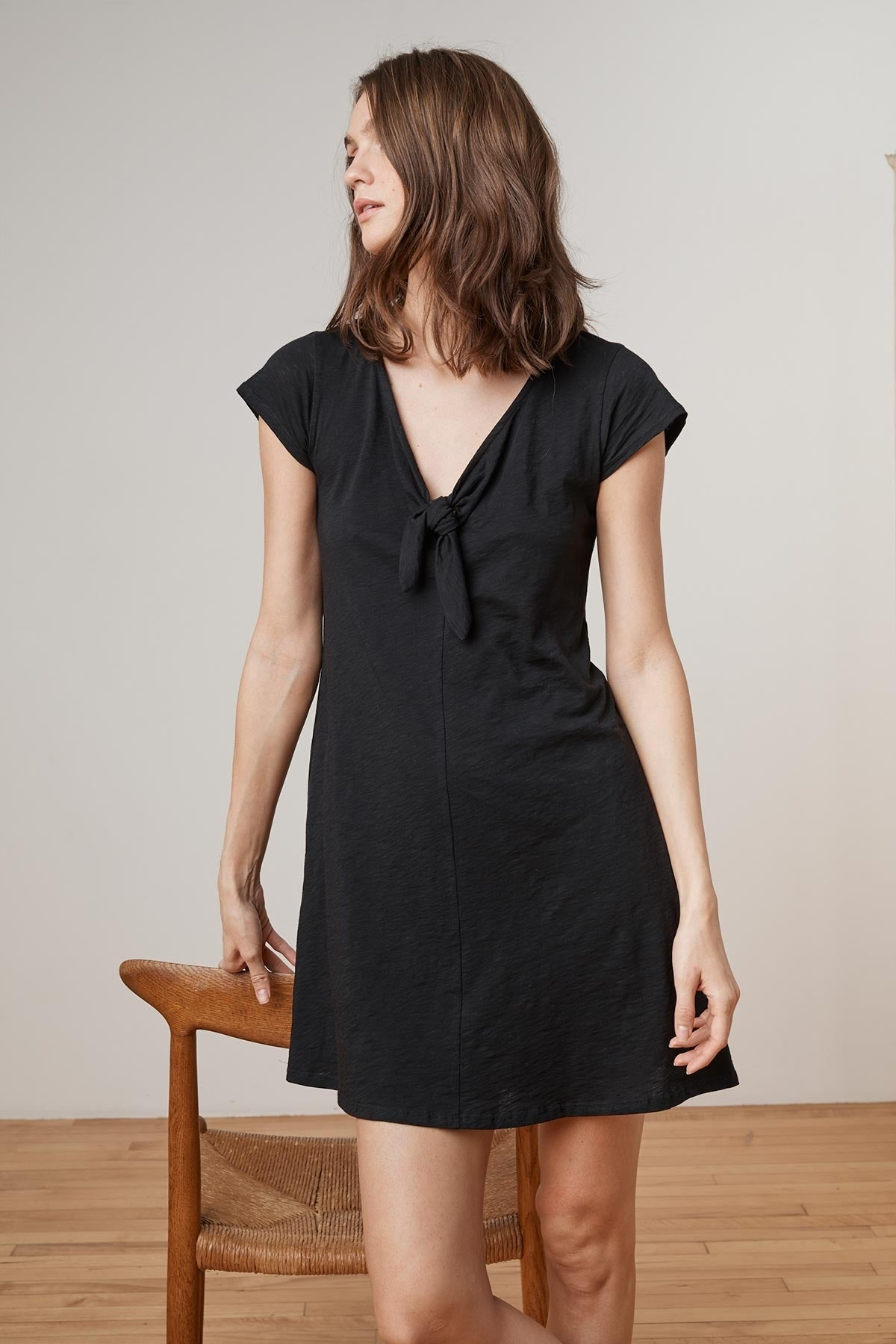 LUISE COTTON SLUB SHORT SLEEVE TIE DRESS