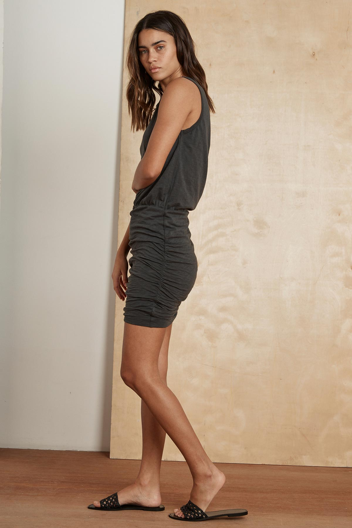 MACEY COTTON SLUB MIX SHIRRED TANK DRESS