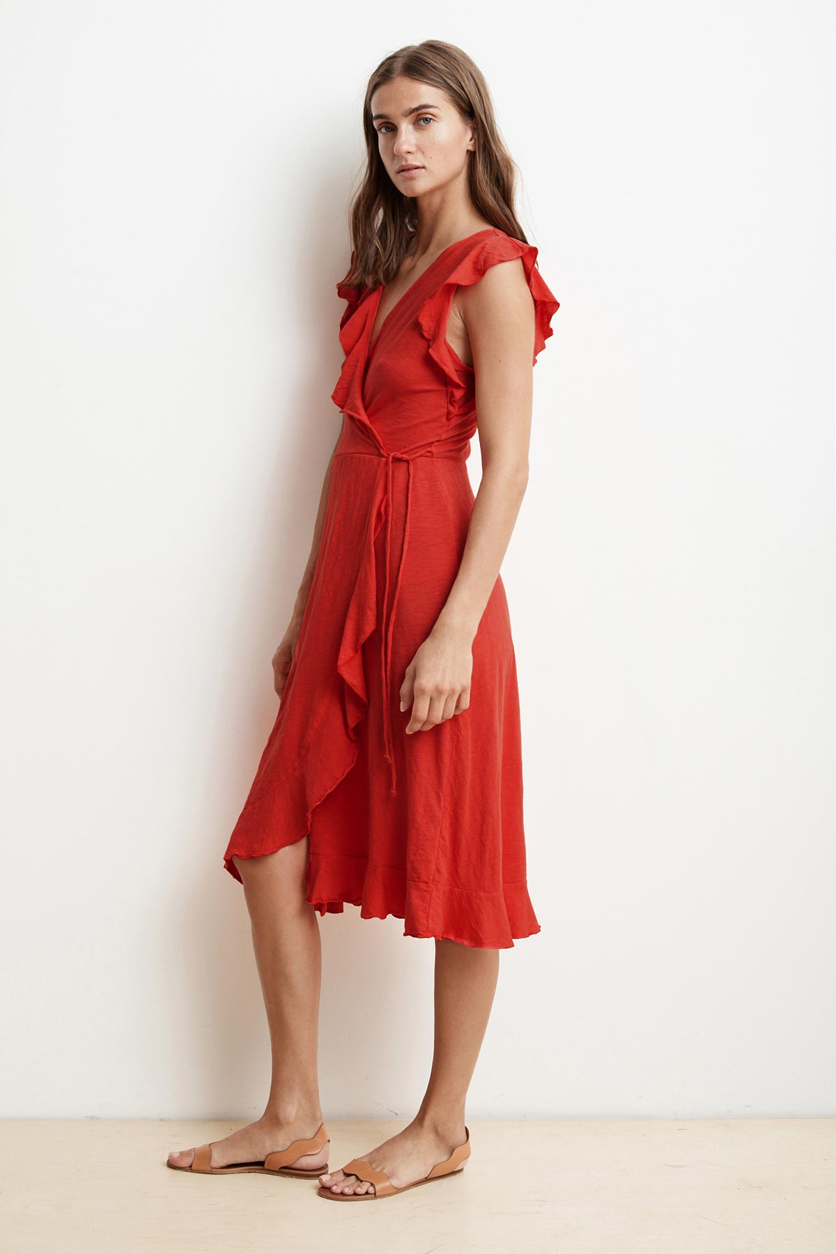 SEDONA COTTON SLUB RUFFLE WRAP DRESS