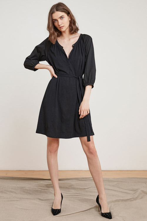 SHARRONA COTTON CONTRAST HENLEY DRESS