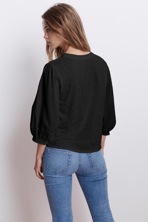 SIMPSON COTTON SLUB CONTRAST PUFF SLEEVE TEE