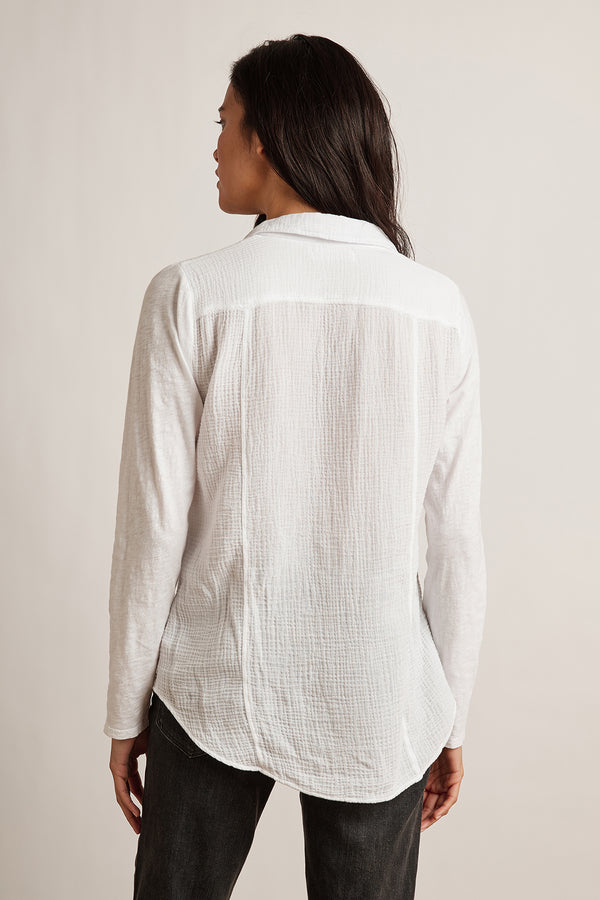 TARAH COTTON SLUB MIX BUTTON-UP TOP