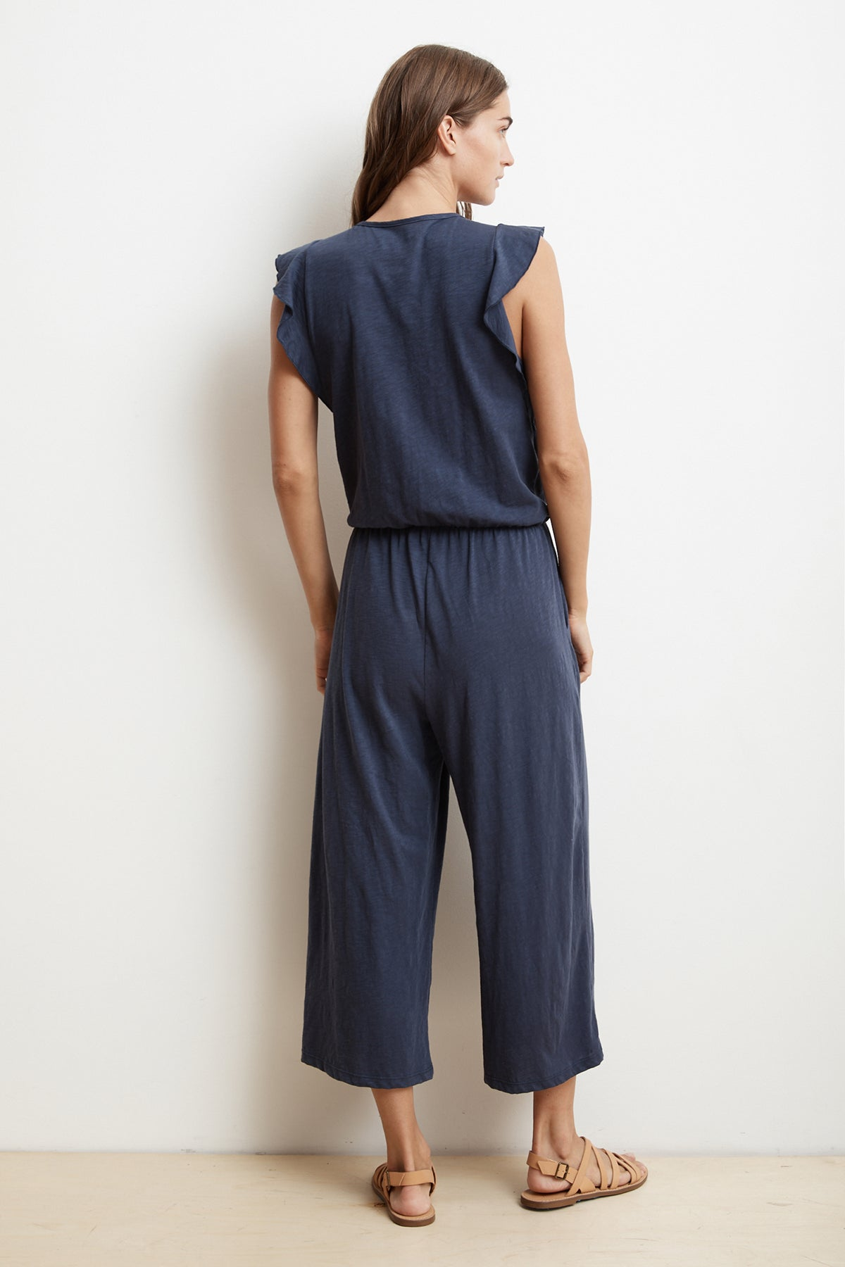 WYNONNA COTTON SLUB FAUX WRAP JUMPSUIT
