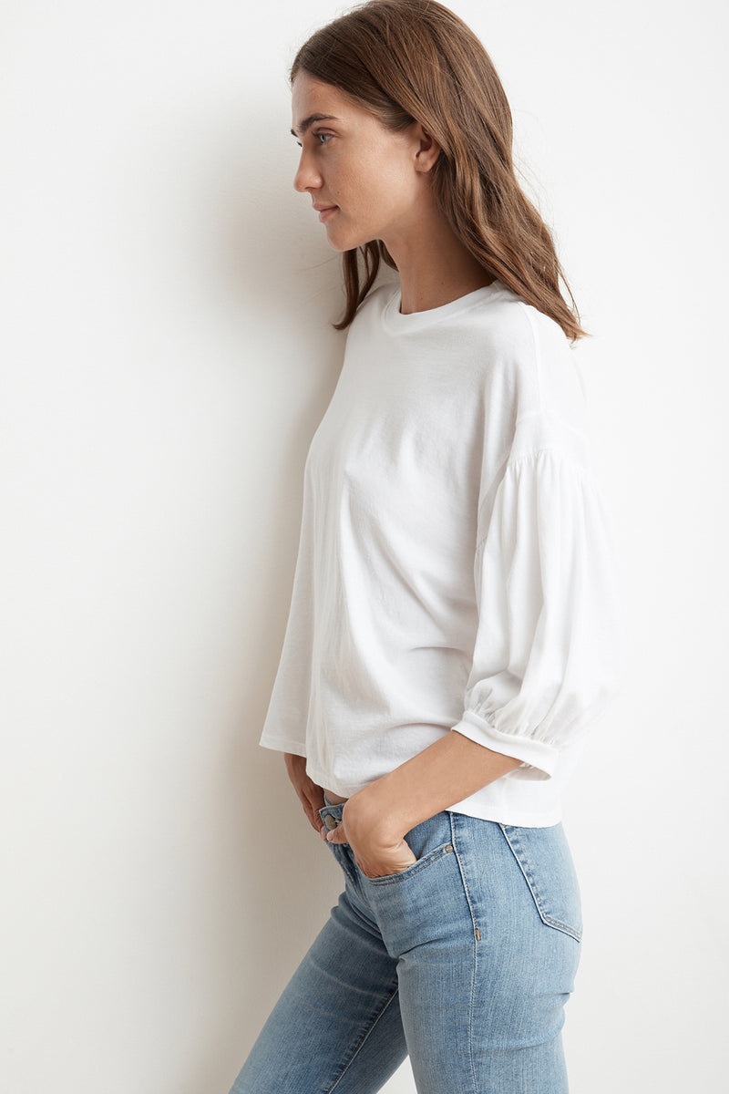 ZEE COTTON SLUB  3/4 PUFF SLEEVE TEE