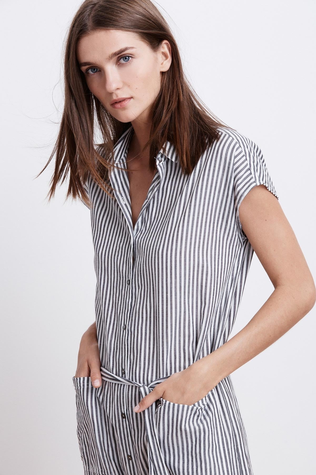 SONAY COTTON STRIPE BUTTON UP SHIRT DRESS