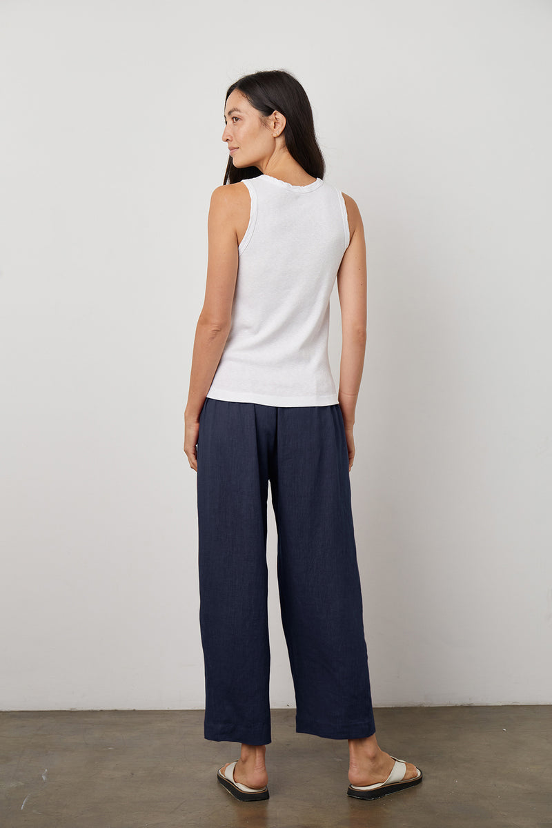 Lola Pant Navy Maxie Tank White Back