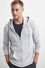 LOUDON COZY HEATHER JERSEY ZIP HOODIE