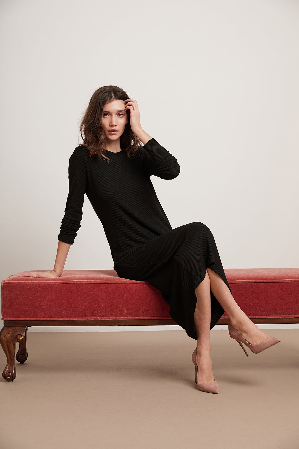 FARAH COZY RIB LONG SLEEVE DRESS