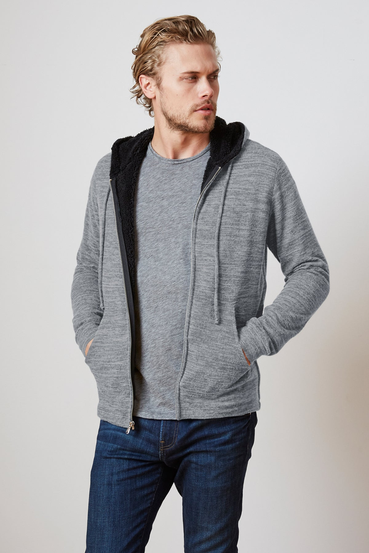 SALVADORE COZY JERSEY SHERPA LINED HOODIE