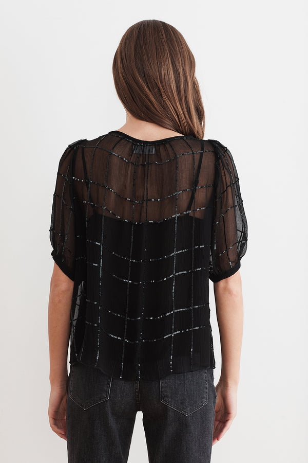 CECILIA SEQUIN CHIFFON TOP