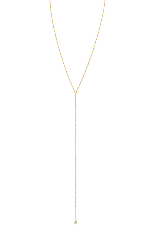 CZ BEZEL LARIAT NECKLACE BY SLOAN