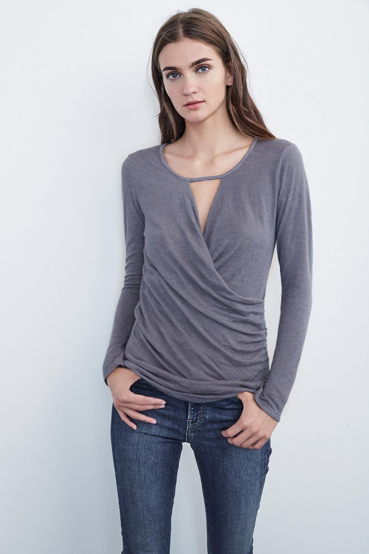 BRIDA TEXTURE KNIT WRAP TOP