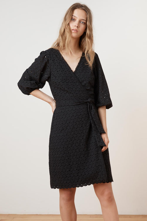 MERINA COTTON EYELET 3/4 SLEEVE WRAP DRESS