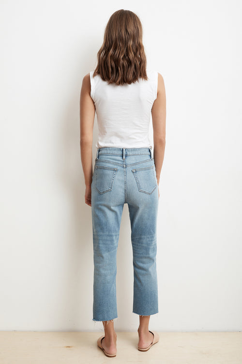 KAROLINA HI RISE STRAIGHT LEG CUT OFF JEANS BACK