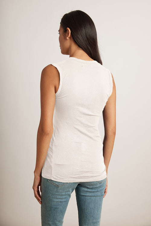 ESTINA GAUZY WHISPER FITTED TANK TOP