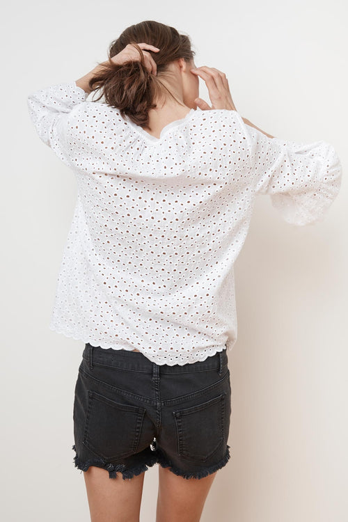 SAIDEE COTTON EYELET BELL SLEEVE TOP