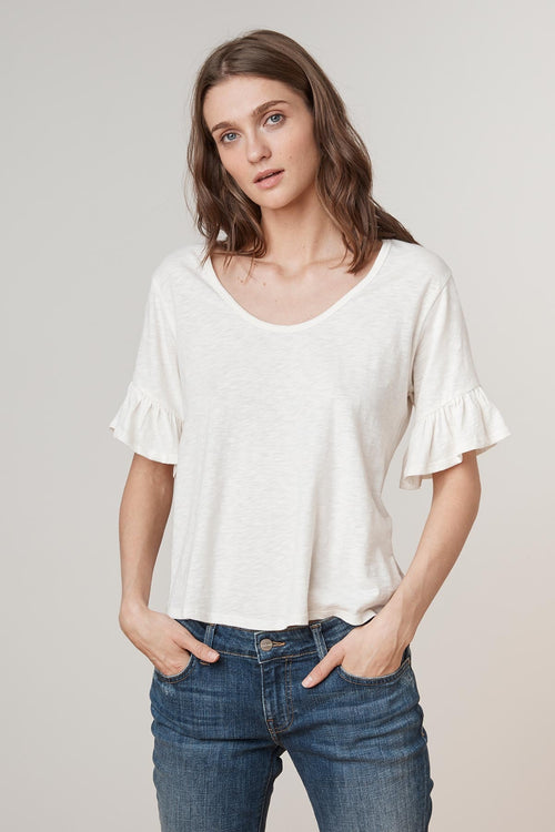 DANALY RUFFLE SLEEVE SCOOP NECK TEE