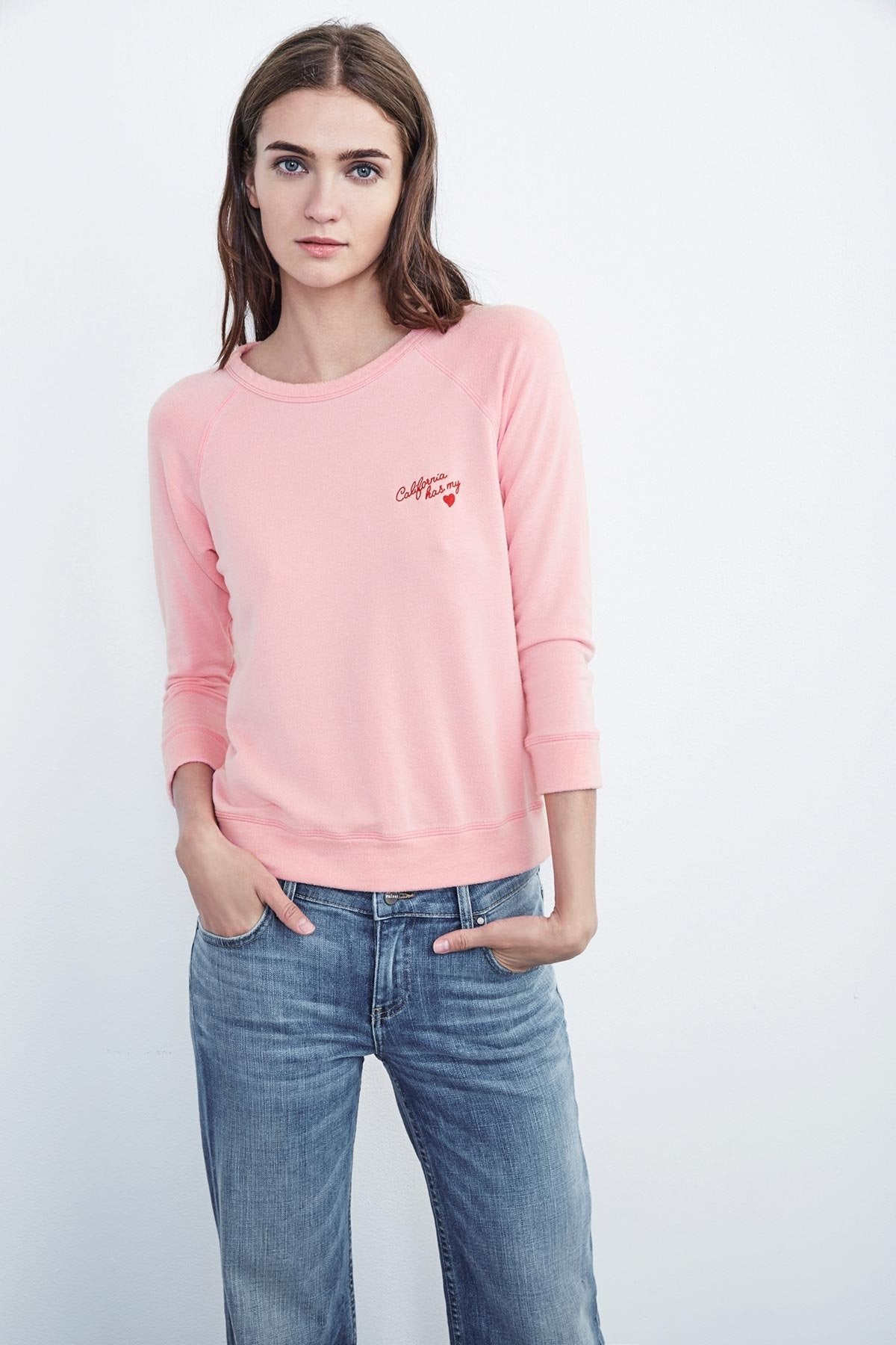 MARLEIGH EMBROIDERED FLEECE RAGLAN TOP