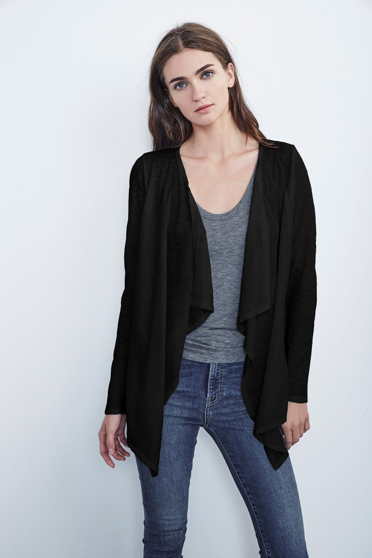 CHAMPAGNE COTTON SLUB OPEN CARDIGAN