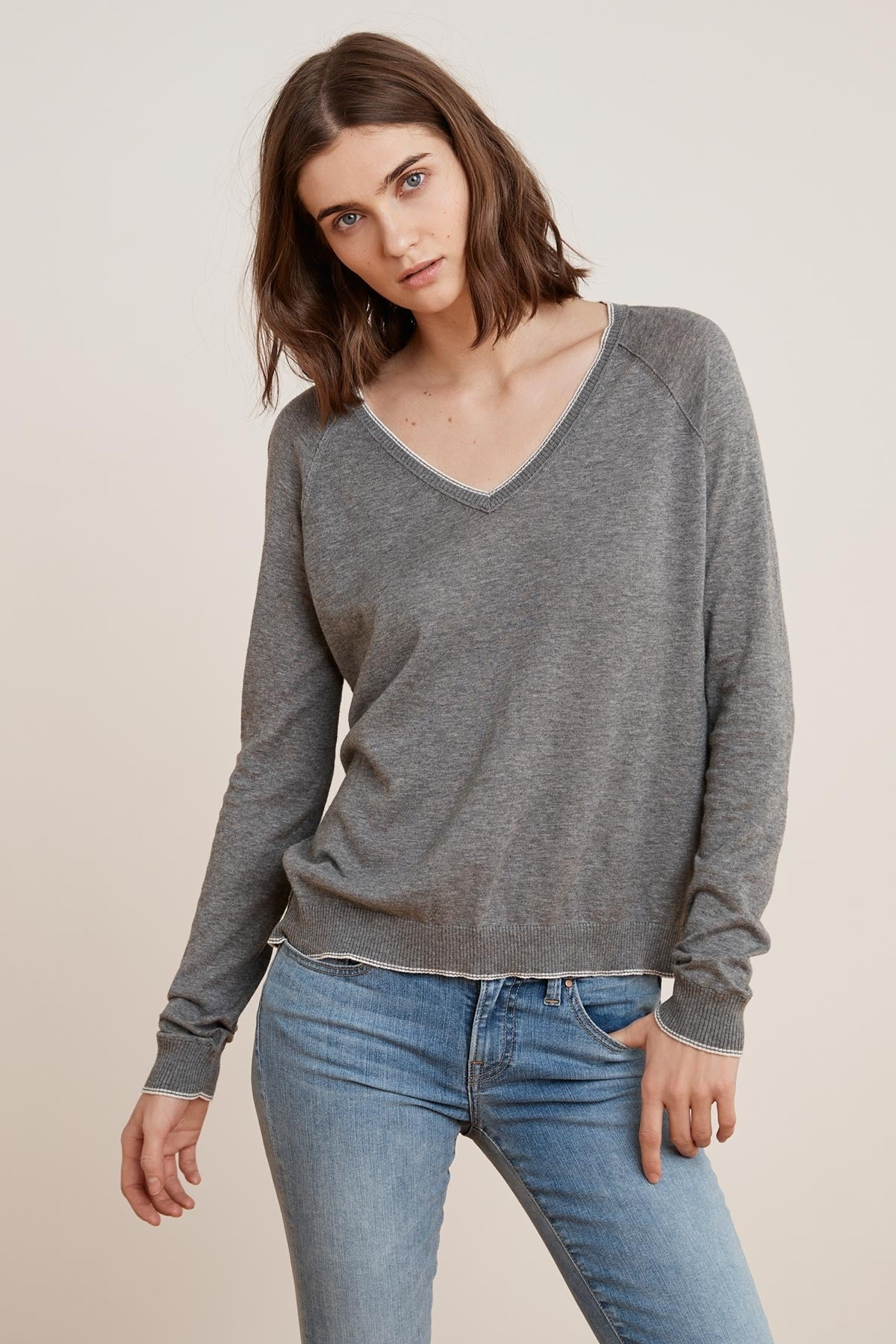 MORIAH LUX COTTON V-NECK SWEATER
