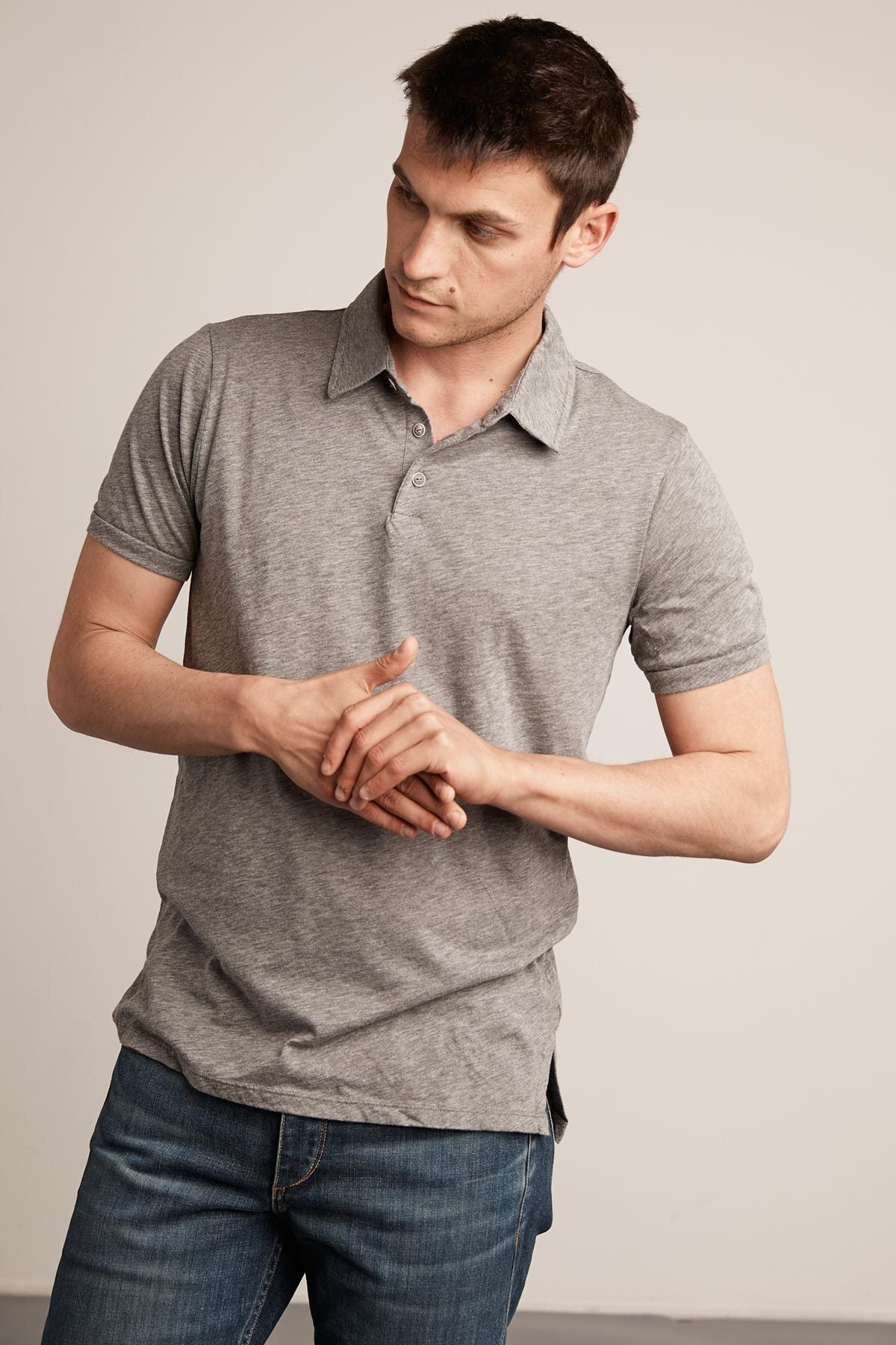 RANDALL CHARCOAL COTTON SLUB POLO