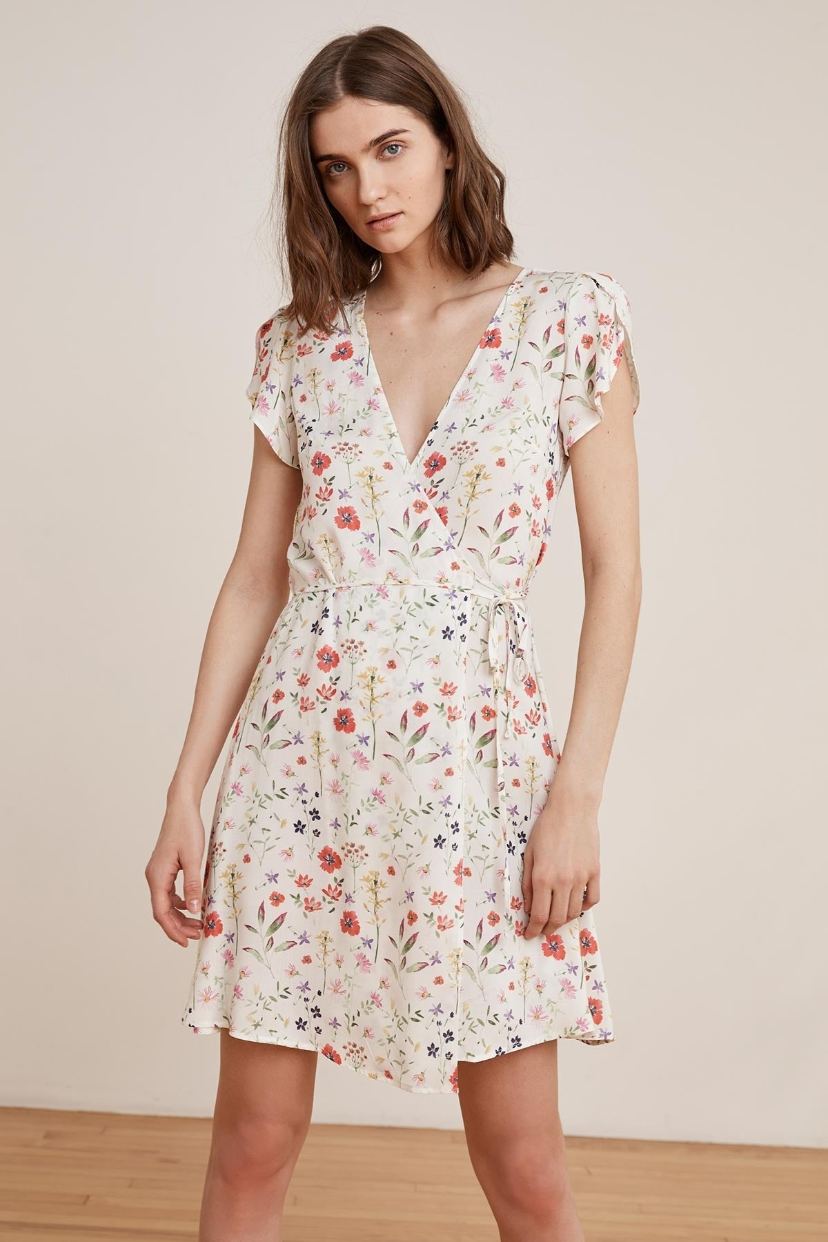 AMAURY SPRING FLORAL CHALLIS WRAP DRESS