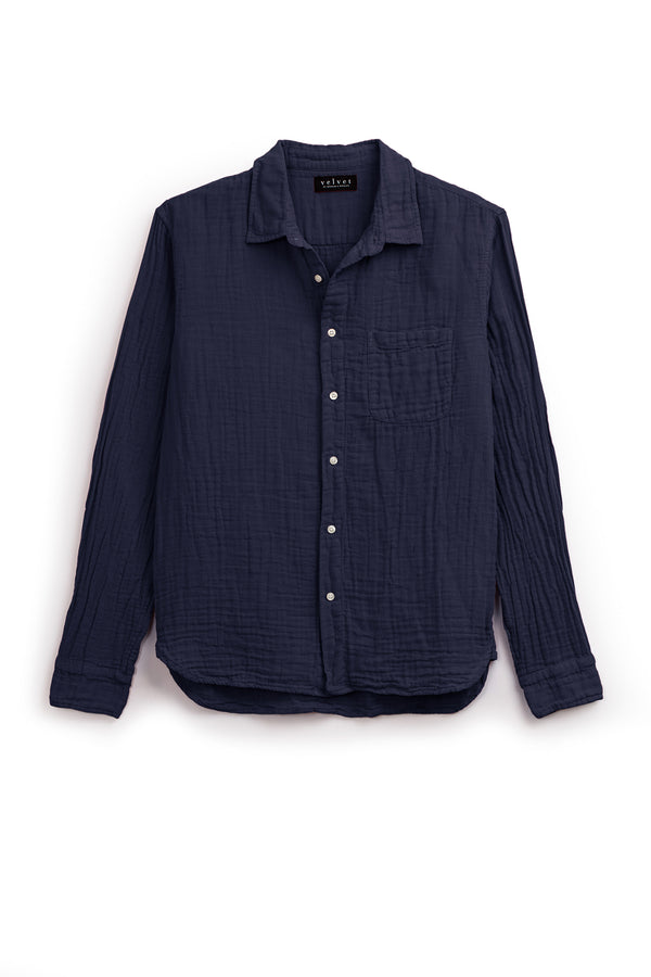ELTON COTTON WOVEN BUTTON-UP SHIRT