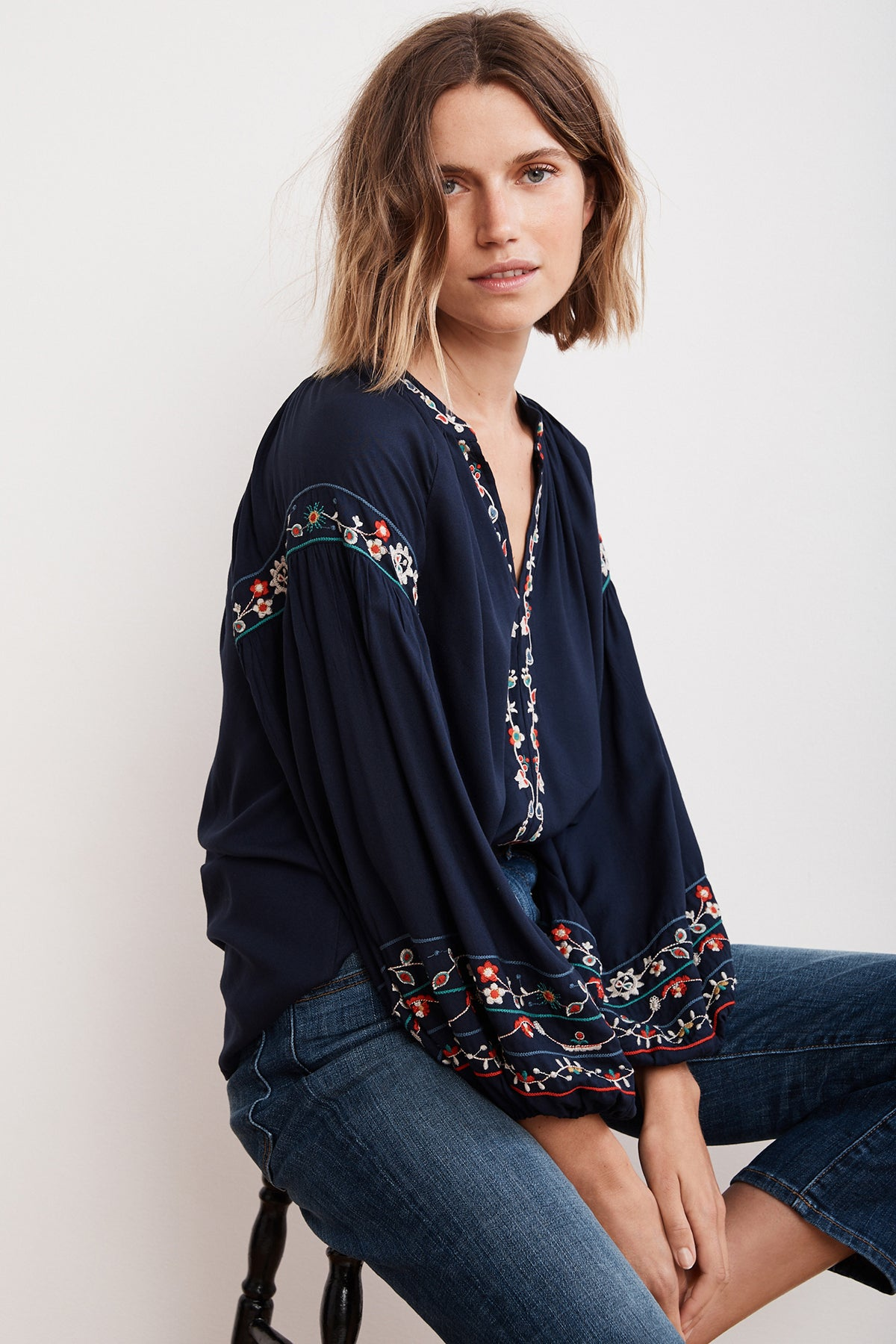 CARINA FLORAL EMBROIDERED CHALLIS PUFF SLEEVE TOP