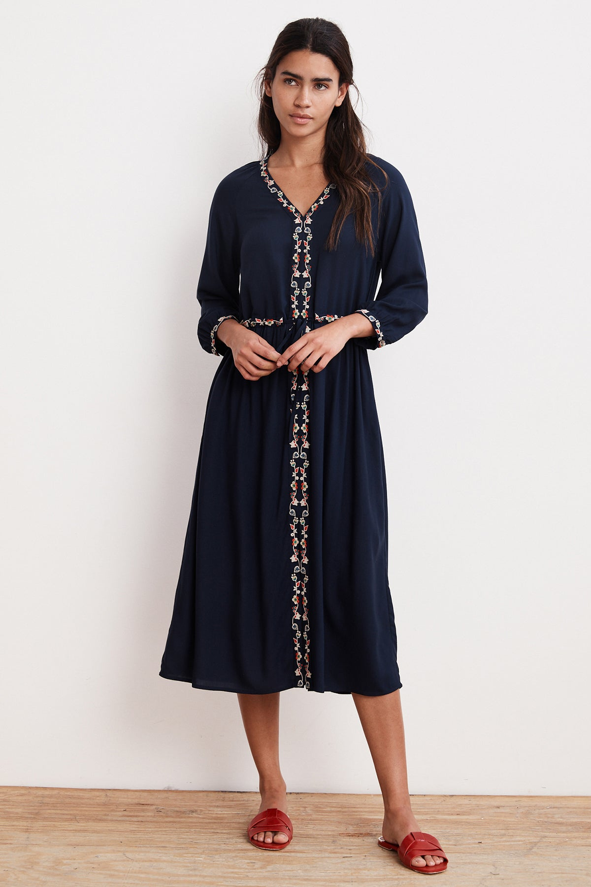LYDIA FLORAL EMBROIDERED CHALLIS DRESS
