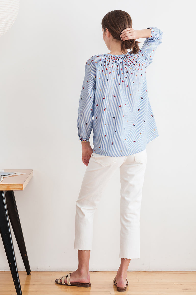 MORIE EMBROIDERED CHAMBRAY BLOUSE