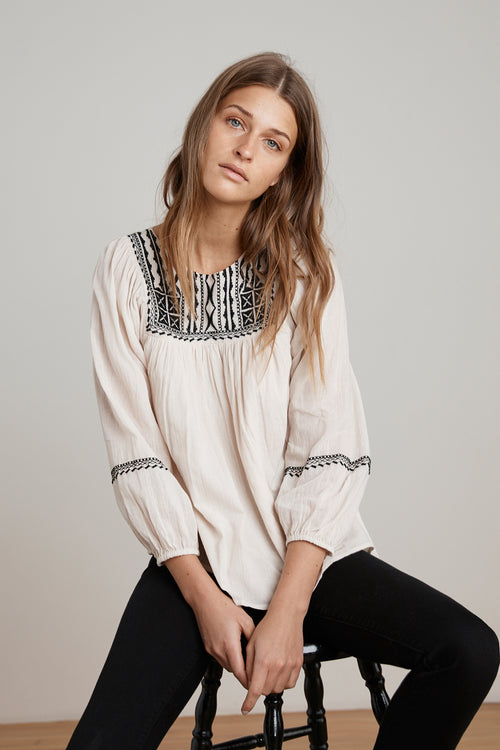 VANNA EMBROIDERED COTTON GAUZE TOP