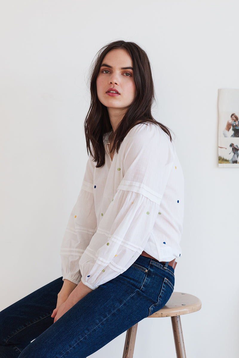 DORI EMBROIDERED PEASANT BLOUSE