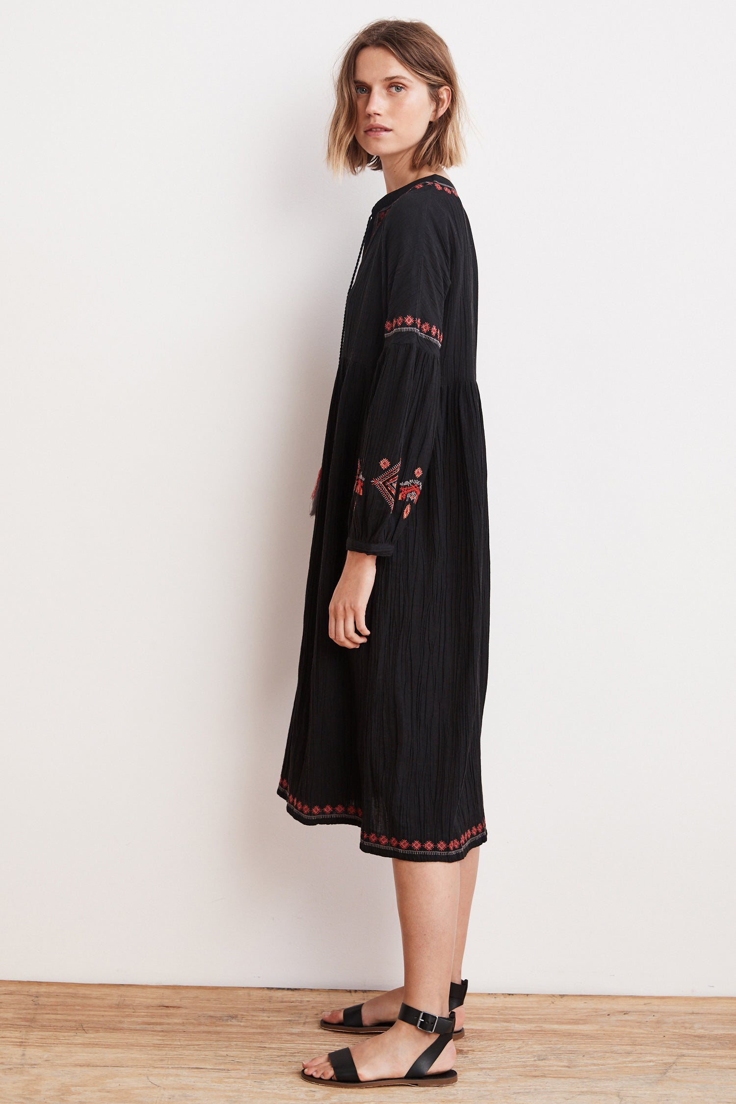 ETTA EMBROIDERED CRINKLED GAUZE PEASANT DRESS