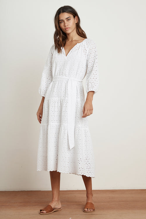 CHEYNNE COTTON EYELET 3/4 SLEEVE TIERED DRESS