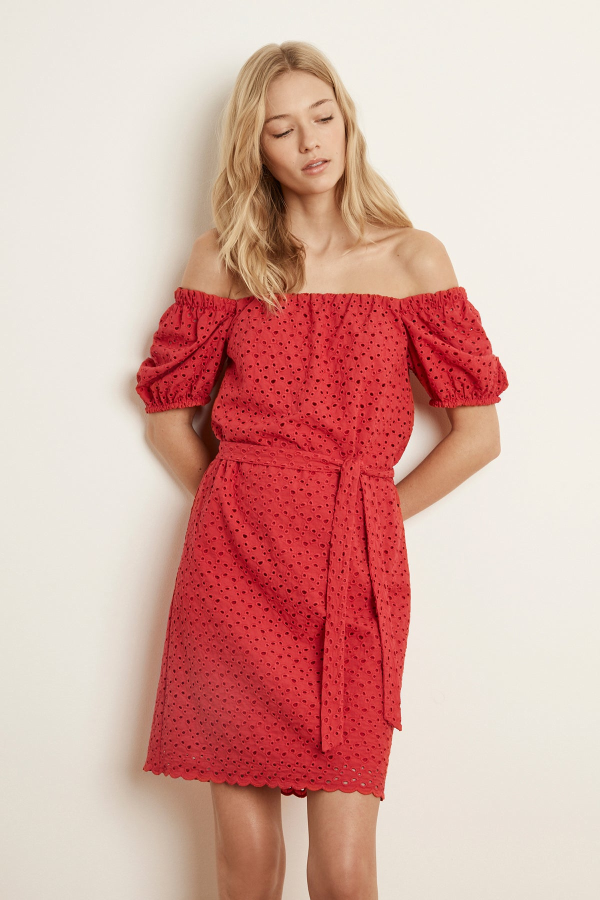 GABRIELLA COTTON EYELET OFF THE SHOULDER DRESS