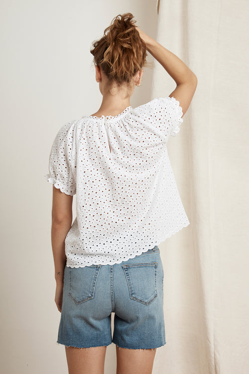 PAMELA COTTON EYELET SHORT PUFF SLEEVE TOP