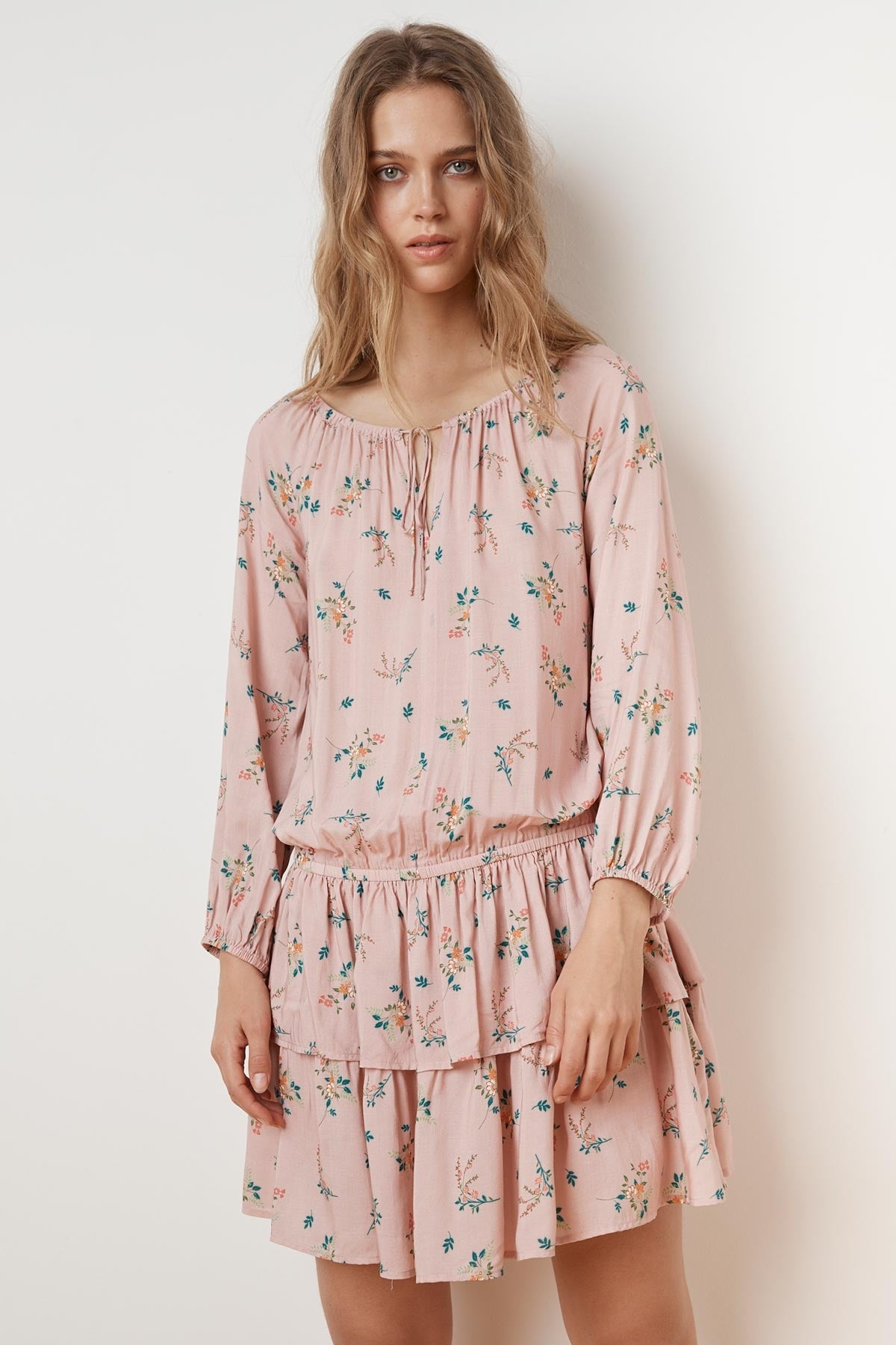 NANCE FLORAL PRINT RUFFLE PEASANT DRESS