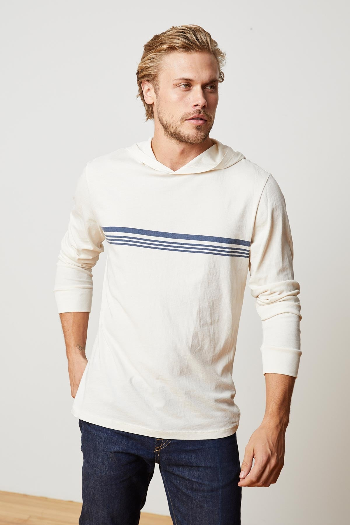 ODIN PRINTED STRIPE JERSEY HOODED TEE