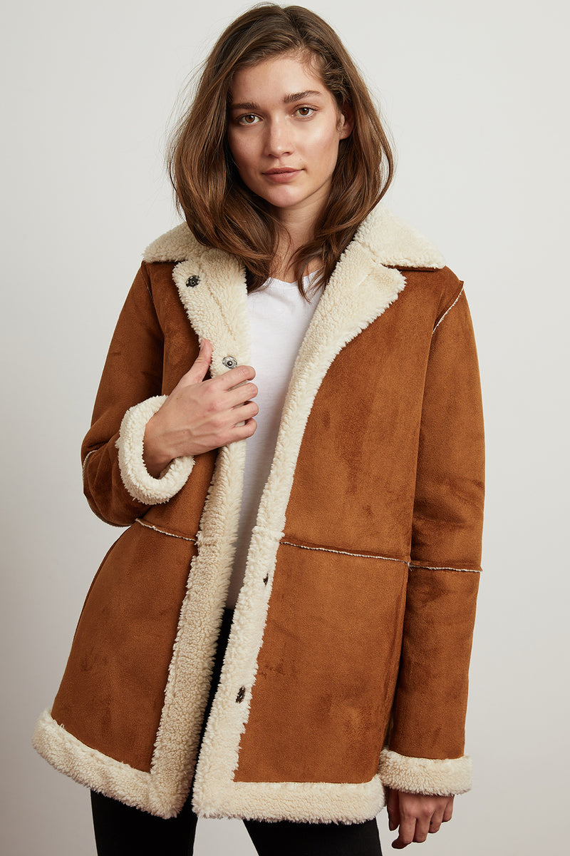 KAILANI FAUX SUEDE SHERPA OVERSIZED COAT