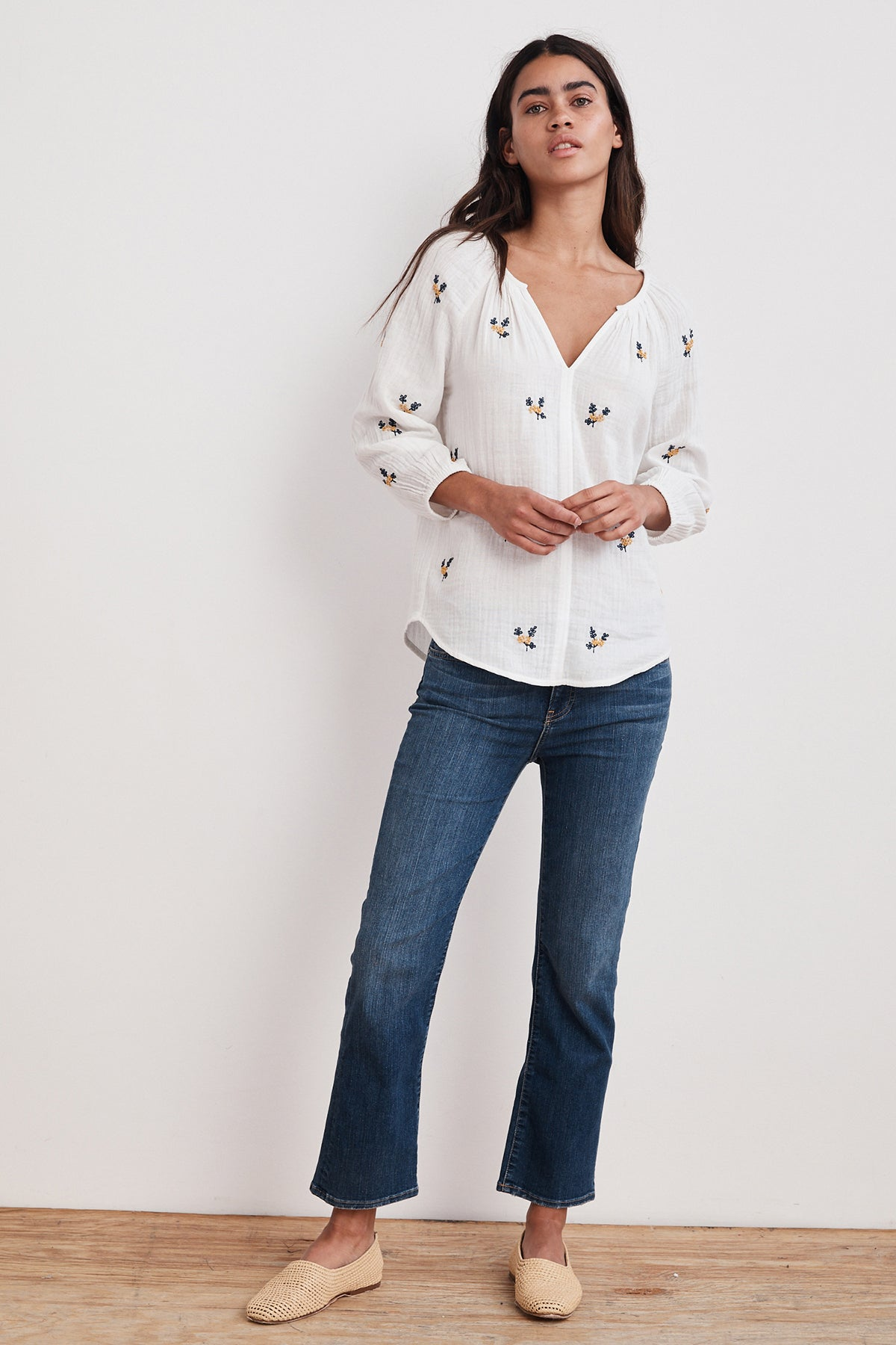 SELMA FLEUR EMBROIDERED COTTON VOILE RAGLAN TOP