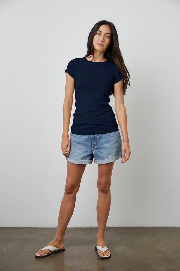 JEMMA GAUZY WHISPER FITTED CREW NECK TEE